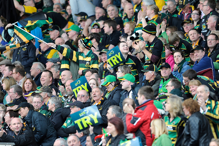 Northampton fans celebrate a try during the LV= Cup Final match between Leicester Tigers and Northampton Saints at Sixways Stadium, Worcester on Sunday 18 March 2012 (Photo by Rob Munro, Fotosports International)