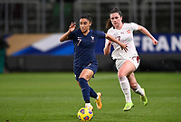 French Sakina Karchaoui (7) pictured in action with Swiss Svenja Folmli (17) during the Womens International Friendly game between France and Switzerland at Stade Saint-Symphorien in Longeville-lès-Metz, France.