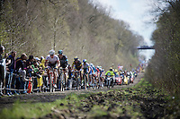 In his very last race as a pro-rider, Yaroslav Popovych (UKR/Trek-Segafredo) leads the race into the infamous sector 18: Trouée d'Arenberg - Wallers Forest (2.4km)<br /> <br /> 114th Paris-Roubaix 2016