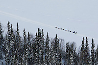 John Baker runs down the Yukon River between Grayling and Eagle Island on Saturday afternoon    Iditarod 2009