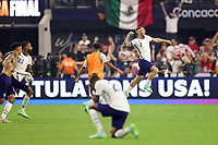 LAS VEGAS, NV - AUGUST 1: Paul Arriola #7 of the United States clebrates after a game between Mexico and USMNT at Allegiant Stadium on August 1, 2021 in Las Vegas, Nevada.