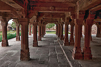 Fatehpur Sikri, Uttar Pradesh, India.  Supporting Columns of the Panch Mahal, the Five-Storeyed Palace.