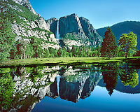A perfect reflection of Yosemite Falls in a flooded spring meadow.