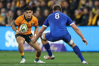 13th July 2021; AAMI Park, Melbourne, Victoria, Australia; International test rugby, Australia versus France; Noah Lolesio of Australia runs with the ball as Jelonch (Fra) tackles