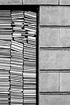 Book Store Window with Stacked Books