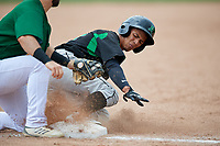 Dayton Dragons center fielder Lorenzo Cedrola (27) slides into third base during a game against the Beloit Snappers on July 22, 2018 at Pohlman Field in Beloit, Wisconsin.  Dayton defeated Beloit 2-1.  (Mike Janes/Four Seam Images)