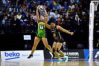 Te Amp Amaru-Tibble of the Pulse and Temalisi Fakahokotau of the Magic during the ANZ Premiership Netball - Pulse v Magic at TSB Bank Arena, Wellington, New Zealand on Sunday 30 May 2021.<br /> Photo by Masanori Udagawa. <br /> www.photowellington.photoshelter.com