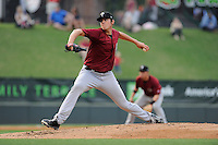 Pitcher Brad Wieck (14) of the Savannah Sand Gnats, delivers a pitch in a game against the Greenville drive on May 7, 2015, at Fluor Field at the West End in Greenville, South Carolina. Savannah won, 7-5. (Tom Priddy/Four Seam Images)