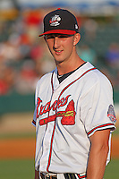 Rome Braves pitcher David Filak #27 being introduced as a member of the Southern division team before the South Atlantic League All-Star game held at the Joseph P. Riley Jr.Ballpark in Charleston, South Carolina on June 19th, 2012. The Northern division defeated the Southern division by the score of 3-2. (Robert Gurganus/Four Seam Images)