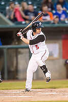 Lansing Lugnuts second baseman Aaron Attaway (3) at bat against the South Bend Cubs on May 12, 2016 at Cooley Law School Stadium in Lansing, Michigan. Lansing defeated South Bend 5-0. (Andrew Woolley/Four Seam Images)