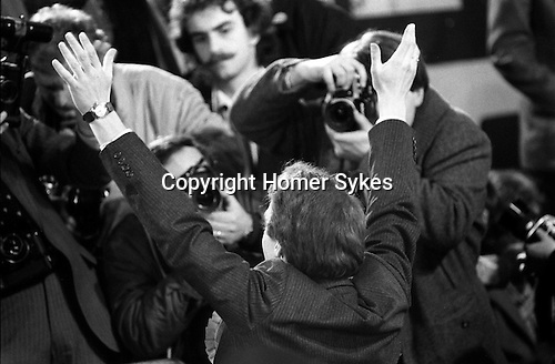Simon Hughes, Liberal party, Bermondsey by-election South London 1983, he has just won. Peter Tatchell out of focus in background.