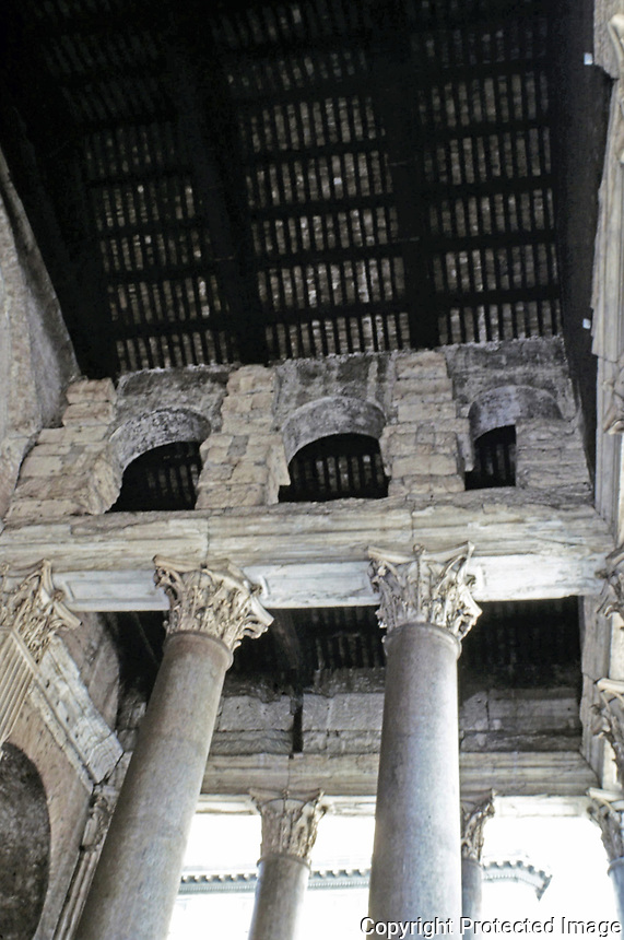 Porch detail of the Pantheon, showing Corinthian columns and wooden trusses, Rome Italy, 118-125 CE.