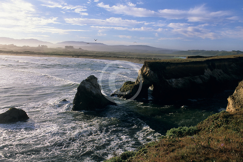 California, Point Arena, Rock arch at mouth of Garcia River