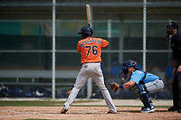 Baltimore Orioles JC Encarnacion (76) bats during a Minor League Spring Training game against the Tampa Bay Rays on March 16, 2019 at the Buck O'Neil Baseball Complex in Sarasota, Florida.  (Mike Janes/Four Seam Images)