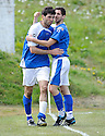 Stranraer's Martin Greehan is congratulated after he scores their goal....