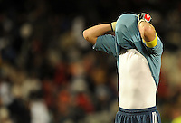 Iker Casillas of Spain looks dejected. USA defeated Spain 2-0 during the semi-finals of the FIFA Confederations Cup at Free State Stadium in Manguang/Bloemfontein, South Africa on June 24, 2009..