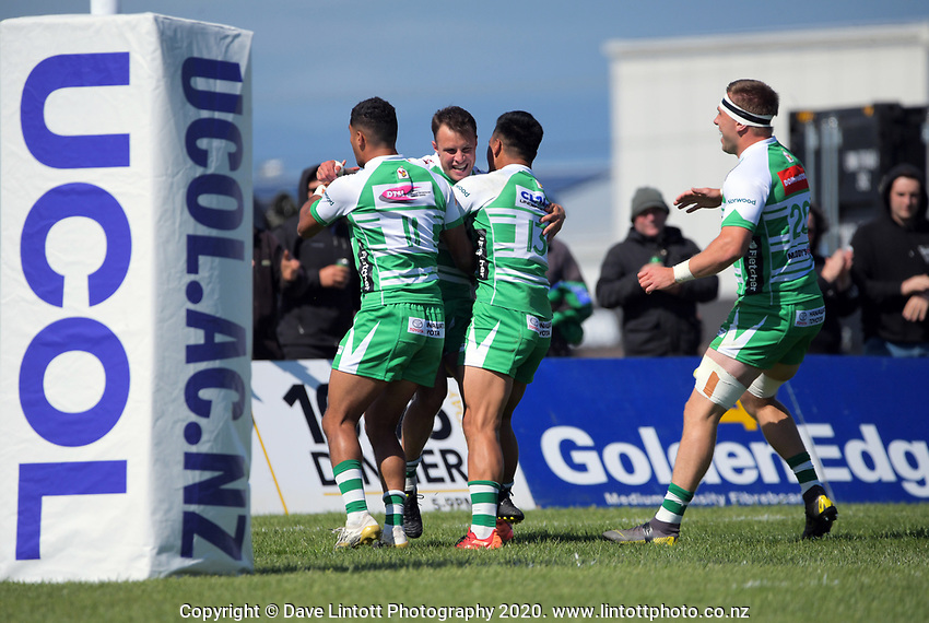 Ben Wyness celebrates scoring for Manawatu during the Mitre 10 Cup Cup rugby match between Manawatu Turbos and Southland Stags at Manfeild Park in Feilding, New Zealand on Saturday, 1 November 2020. Photo: Dave Lintott / lintottphoto.co.nz