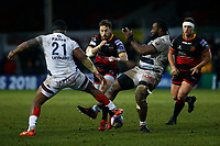 Dorian Jones of Dragons is challenged by Peni Ravai and Apisai Naqalevu of Bordeaux Beglesthe European Challenge Cup match between Dragons and Bordeaux Begles at Rodney Parade, Newport, Wales, UK. 20 January 2018