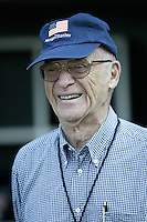Detroit Tigers broadcaster Ernie Harwell before a 2002 MLB season game against the Los Angeles Angels at Angel Stadium, in Anaheim, California. (Larry Goren/Four Seam Images)
