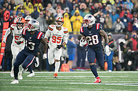 FOXBOROUGH, MA - OCTOBER 27: New England Patriots Wide Receiver Phillip Dorsett #13 supports  New England Patriots Runningback James White #28 as he runs with Cleveland Browns Linebacker Mack Wilson #51 and Cleveland Browns Defensive End Myles Garrett #95 chasing during a game between Cleveland Browns and New Enlgand Patriots at Gillettes on October 27, 2019 in Foxborough, Massachusetts.