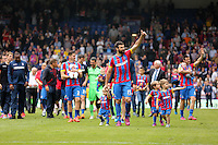 Pictured: Mile Jedinak of Crystal Palace leads team mates as they walk around the stadium after the end of the game<br />