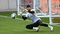 Brentford goalkeeper, David Raya, warms up ahead of kick-off during Brentford vs Fulham, Caraboa Cup Football at the Brentford Community Stadium on 1st October 2020