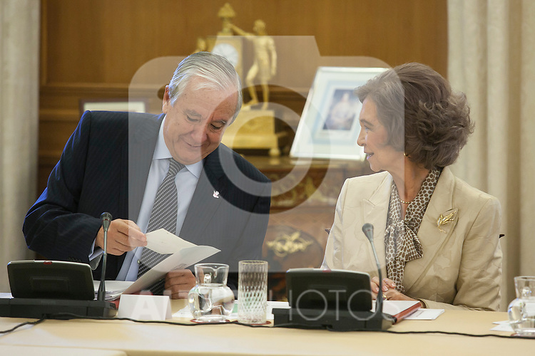 Spanish Royals Queen Sofia of Spain attends a meeting with `Help Against Drugs Foundation´ representatives at Zarzuela Palace in Madrid, Spain. September 29, 2015. (ALTERPHOTOS/Victor Blanco)