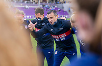 ORLANDO, FL - FEBRUARY 21: Vlatko Andonovski of the USWNT talks to his team after a game between Brazil and USWNT at Exploria Stadium on February 21, 2021 in Orlando, Florida.