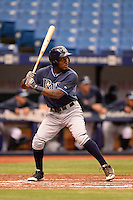 Tampa Bay Rays outfielder Bralin Jackson (44) during an Instructional League game against the Boston Red Sox on September 25, 2014 at Tropicana Field in St. Petersburg, Florida.  (Mike Janes/Four Seam Images)
