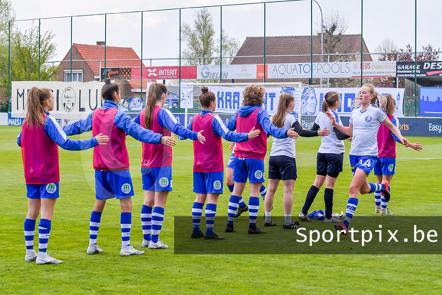 warming-up KAA Gent - Feli Delacauw (44) of AA Gent clapping hands - pictured before a female soccer game between AA Gent Ladies and Oud Heverlee Leuven on the fourth matchday of play off 1 in the 2020 - 2021 season of Belgian Scooore Womens Super League , saturday 1 st of May 2021  in Oostakker , Belgium . PHOTO SPORTPIX.BE | SPP | STIJN AUDOOREN