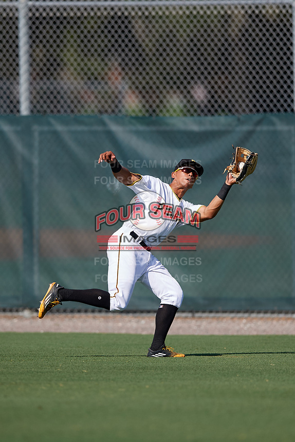GCL Pirates right fielder John Lantigua (26) tracks a fly ball during a game against the GCL Yankees West on August 2, 2018 at Pirate City Complex in Bradenton, Florida.  GCL Pirates defeated GCL Yankees West 6-2.  (Mike Janes/Four Seam Images)