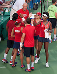 Venus Williams (white visor) celebrates with the Kastles at the World Team Tennis match between the Washington Kastles and the Boston Lobsters on July 16, 2012 in Washington, DC.