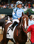 LEXINGTON, KY - October 7, 2017.  #2 Bucchero and jockey Fernando De La Cruz after winning the 21st running of the Woodford PResented by Keeneland Select Grade 2 $200,000 at Keeneland Race Course.  Lexington, Kentucky. (Photo by Candice Chavez/Eclipse Sportswire/Getty Images)