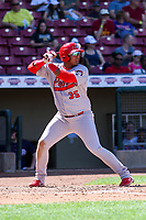 Peoria Chiefs outfielder Leandro Cedeno (35) during a Midwest League game against the Cedar Rapids Kernels on May 26, 2019 at Perfect Game Field in Cedar Rapids, Iowa. Cedar Rapids defeated Peoria 14-1. (Brad Krause/Four Seam Images)