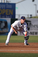 Trent Woodward (36) of the Lancaster JetHawks in the game at third base during a game against the Bakersfield Blaze at The Hanger on June 18, 2016 in Lancaster, California. Bakersfield defeated Lancaster, 10-7. (Larry Goren/Four Seam Images)