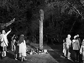 Trzebiszcze 21.06.2019 Poland<br /> Trzebiszcze - a sacred place for pre-Christian Slavic believers, a temple open to the heavens. This picture was taken during Kupala Night (celebrated in Ukraine, Belarus, Russia and more often in Poland (currently on the night of 6/7 July in the Gregorian or New Style calendar, which is 23/24 June in the Julian or Old Style calendar) at the foot of the holy Ślęża mountain, in Dolnośląskie County. These people participated in old slavic religious rituals.<br /> <br /> Photo: Adam Lach