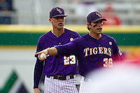 LSU Tigers shortstop Austin Nola #36 argues with the umpire during the NCAA Super Regional baseball game against Stony Brook on June 9, 2012 at Alex Box Stadium in Baton Rouge, Louisiana. Stony Brook defeated LSU 3-1. (Andrew Woolley/Four Seam Images)