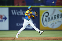 Rapidos de Kannapolis third baseman DJ Gladney (8) makes a throw to first base against the Guerreros de Fayetteville at Atrium Health Ballpark on June 24, 2021 in Kannapolis, North Carolina. (Brian Westerholt/Four Seam Images)