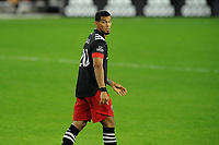 WASHINGTON, DC - OCTOBER 28: Gelmin Rivas #20 of D.C. United during a game between Columbus Crew and D.C. United at Audi Field on October 28, 2020 in Washington, DC.