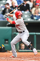 Ryan Jackson (3) in action during the MiLB matchup between the Memphis Redbirds and the Oklahoma City Redhawks at Chickasaw Bricktown Ballpark on April 8th, 2012 in Oklahoma City, Oklahoma. The Redhawks defeated the Redbirds 8-1  (William Purnell/Four Seam Images)