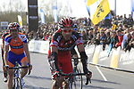 BMC Racing Team's George Hincapie (USA) crosses the line at the end of the 96th edition of The Tour of Flanders 2012 , running 256.9km from Bruges to Oudenaarde, Belgium. 1st April 2012. <br /> (Photo by Eoin Clarke/NEWSFILE).
