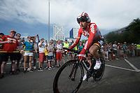 Thomas De Gendt (BEL/Lotto-Soudal) after finishing <br /> <br /> stage 1 prologue: Utrecht (13.8km)<br /> Tour de France 2015