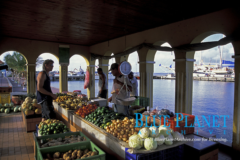 produce market selling Venezuelan fruits and vegetables quayside in Kralendijk, Bonaire