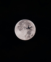 Composite Moon and commercial Airliner, Manila, Philippines