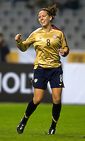 USWNT forward (8) Lauren Cheney celebrates her goal during the Four Nations Tournament in  Guangzhou, China.  The US defeated Finland, 4-1.
