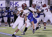 Springdale Bulldogs Senior Gilberto Dominguez (22) run with the ball around Rogers Mountaineers Junior Brady Porter (92) Friday, October 16, 2020, at Whitey Smith Stadium, Rogers, Arkansas (Special to NWA Democrat-Gazette/Brent Soule)