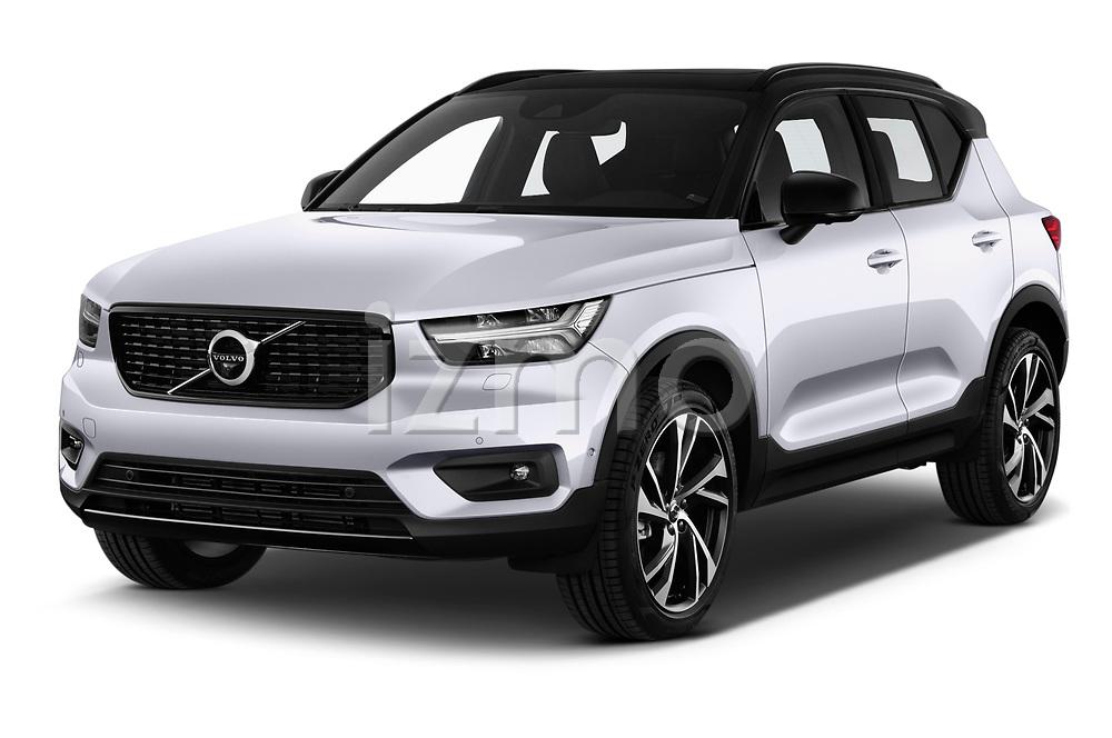 2018 Volvo XC40 R Design 5 Door SUV angular front stock photos of front three quarter view