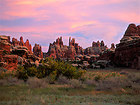 Art in Nature 9705-0106 - Dusk in Devil's Kitchen. A scenic pastel sunset landscape of the Needles District of Canyonlands National Park. Utah.