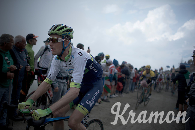Pieter Weening (NLD/Orica GreenEDGE) up the dirt roads of the Colle delle Finestre (2178m)<br /> <br /> Giro d'Italia 2015<br /> stage 20: Saint Vincent - Sestriere (199km)
