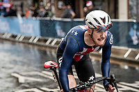 Quinn Simmons (USA) on his way to become the 2019 Junior World Champion<br /> <br /> Junior Men road race<br /> from Richmond to Harrogate (148km)<br /> 2019 Road World Championships Yorkshire (GBR)<br /> <br /> ©kramon